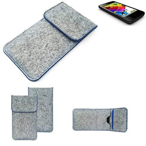 K-S-Trade® Filz Schutz Hülle Für Mobistel Cynus E4 Schutzhülle Filztasche Pouch Tasche Case Sleeve Handyhülle Filzhülle Hellgrau, Blauer Rand
