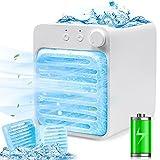 Climatizzatore mobile, 3 in 1, mini climatizzatore personale, ricaricabile, Air Cooler, piccolo ventilatore USB, umidificatore con luce notturna, portatile, per casa e ufficio