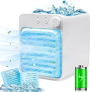 Aire Acondicionado Portátil,3 en 1 Mini Enfriador de Aire Recargable Climatizador Portatil Enfriador de Aire,Ventilador USB,Humidificador con luz Nocturna por Evaporación para Casa y Oficina