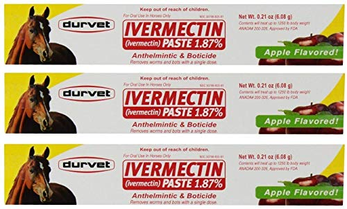 Durvet 3 Pack of Ivermectin Paste, 0.21 Ounces each, Apple Flavored Horse Dewormer