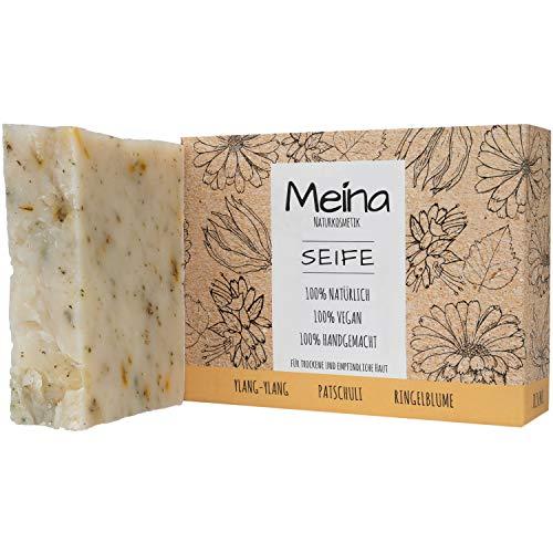Meina Naturkosmetik - Seife mit Patschuli und Ylang-Ylang (1 x 100 g) 100% natürliche, vegane, handgemachte Bio Naturseife - Körperpflege und Gesichtspflege