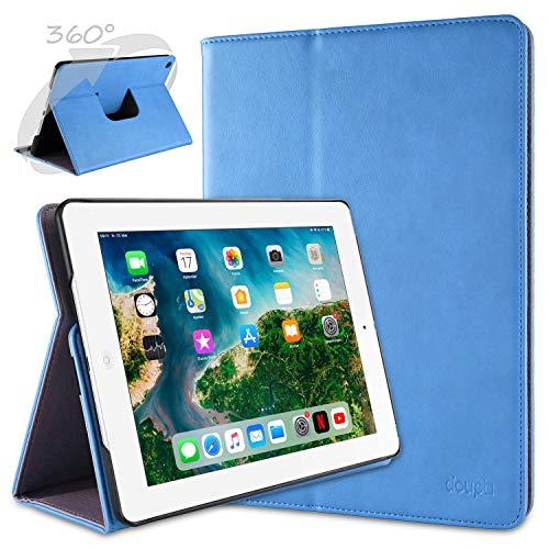 doupi Deluxe Schutzhülle für iPad 2 3 4, Smart Hülle Sleep/Wake Funktion 360 Grad drehbar Schutz Hülle Ständer Cover Tasche, blau