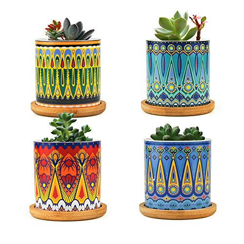 FairyLavie Vasi per Piante Piccoli in Ceramica 7 cm, Vaso Piante Grasse in Motivo Mandala Fioriera Vaso da Fiori con Vassoio in bambù, Perfetto per Arredamento Ufficio Casa, Set di 4
