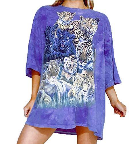 SLYZ 2021 Camiseta De Media Manga con Efecto Tie-Dye para Mujer De Verano, Camiseta De Manga Corta con Cabeza Suelta Y Manga Corta para Mujer