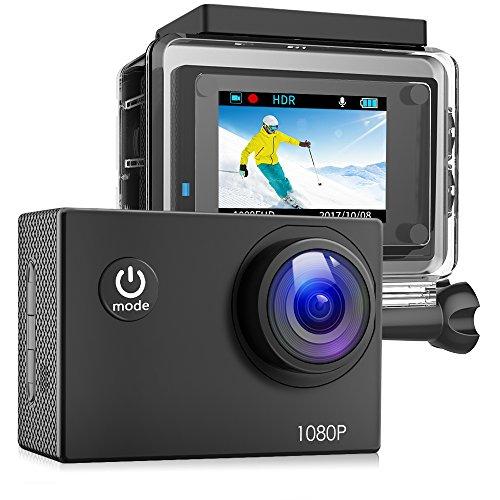 Victure Action Cam Full HD 1080P 12MP wasserdichte Sport Action Kamera 1050mAh Batterien 170 ° Weitwinkel 20+ Kit