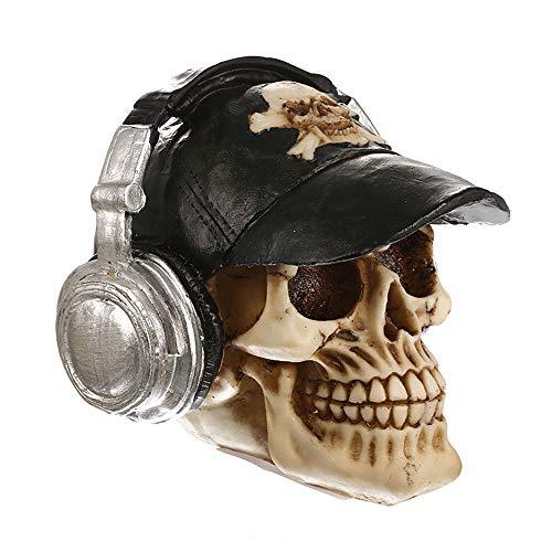 VOANZO Estatua de cabeza humana de calavera de música fresca para decoración de mesa de Halloween Bar