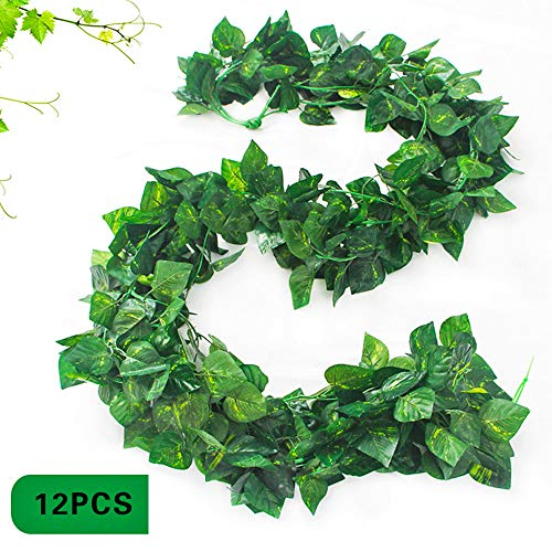 NANAOUS 12PC Artificial Hanging Plants Fake Ivy Vine Fake Ivy Leaves for Wall,Home Room Garden Wedding Garland Outside Decoratio Leaves Fake Vines Artificial Ivy, Party Room Decro