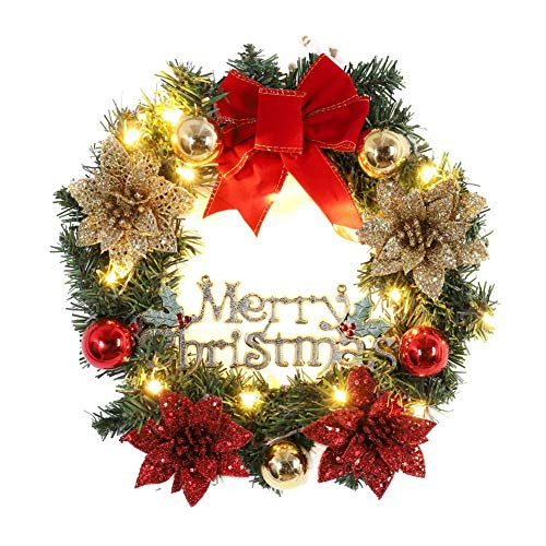 Christmas Wreath with LED Light Front Door Hanging Garland Spruce Wreaths Holiday Home Decorations Xmas Decor for Indoor and Outdoor