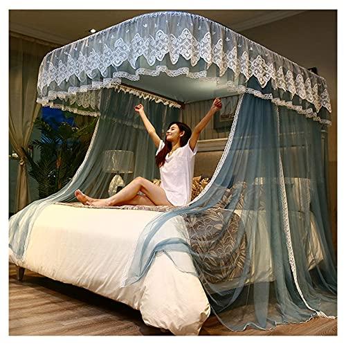 JHGF Mosquitera para cama, color azul grisáceo en forma de U, para niñas, dosel de cama, cortinas de 3 orificios, decoración de dormitorio (tamaño: para cama de 1,8 m)
