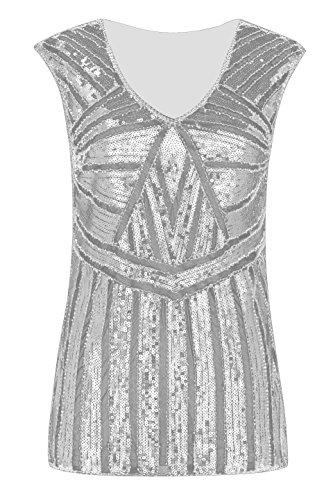 Metme Damen Funkeln Shirt Glitter Pailletten Dolman Loose Tunika Bluse Top Graues Silber XXL EU46
