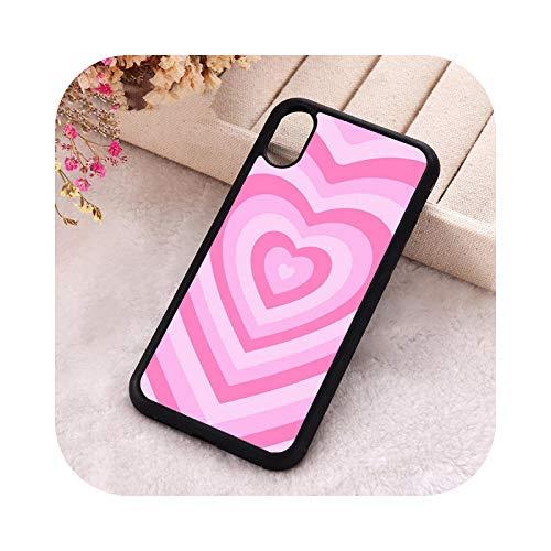 5 5S SE 2020 - Carcasa para iPhone 6, 6S, 7, 8 Plus, X, Xs, Max XR 11 y 12 Mini Pro, silicona suave, diseño de corazón, color rosa