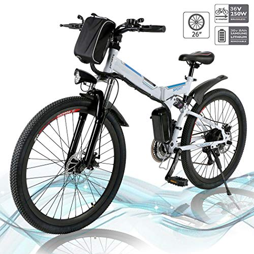 Hiriyt E-Bike Mountainbike, 250W, 36V, Rücken 7-Gang Getriebesystem Faltrad Fahrrad, Große Kapazität Pedelec mit Lithium-Akku und Ladegerät (Weiß,26