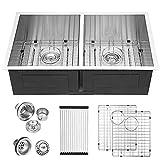 33 Undermount Sink - Logmey 33'x19' Kitchen Sink Undermount Double Bowl 50/50 Stainless Steel 18 Gauge Kitchen Sink Basin
