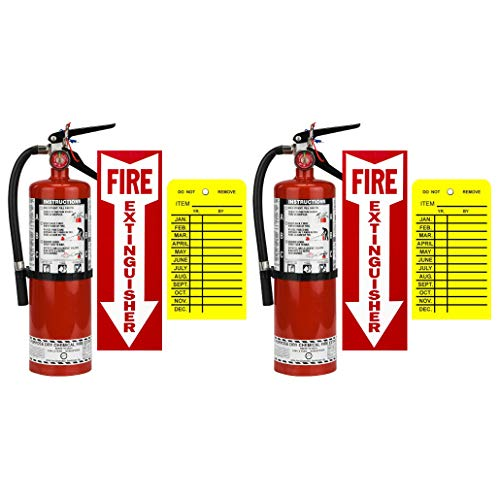 (Lot of 2) Strike First, 5 Lb. Type ABC Dry Chemical 3-A :40-B:C Fire Extinguishers with 2 Wall Hooks, 2 - Yellow Inspection Tags and Signs