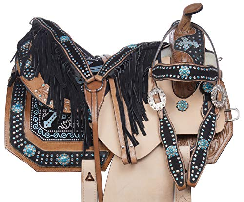 Acerugs 14 15 16 17 Rough Out Western Leather Turquoise Crystal Bling Barrel Racing Show Horse Saddle Free TACK Set (14)