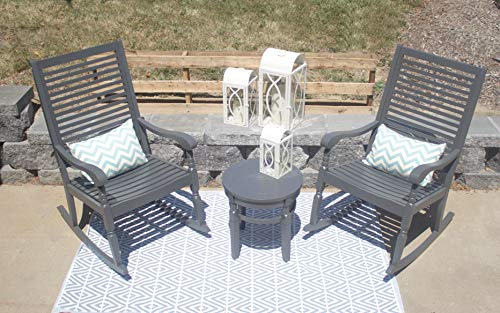Pebble Lane Living All Weather Indoor/Outdoor Exclusive Elegant Hardwood Bistro Set, 2 Porch Rocking Chairs and Round Side Table, Dark Charcoal