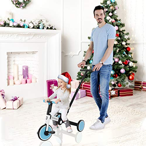 NixueLILI 1-5 Years Toddler Balance Bike Tricycle, 5-in-1 Multifunctional Three-Wheels Pedal Bicycle for Kids(Putter Adjustable) Indoor Outdoor Fitness Balance Trainer Beginner Rider Toy (BU)
