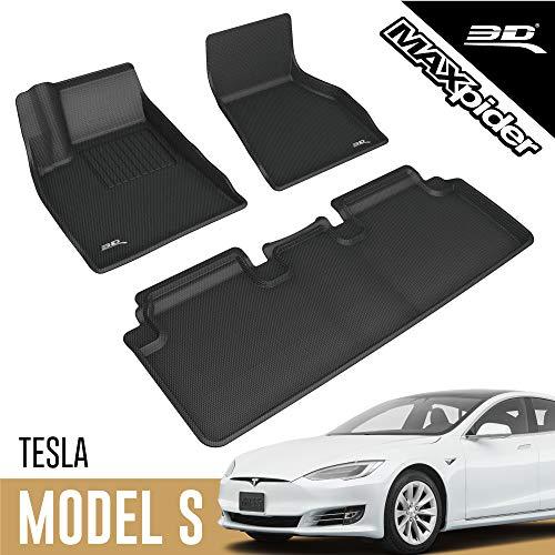 3D MAXpider Allwetter Fussmatten für Tesla Model S 2017-2020 Passgenaue Fußmatten Auto Gummi Matten Gummimatten