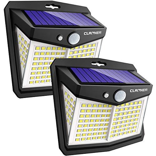 【136 LED/3 modalità】Luce Solare Led Esterno, Luce di Sicurezza Senza Fili con Sensore di Movimento Solare 270° Luci a Energia Solare per Porta D'ingresso, Cortile, Garage, Giardino (Confezione da 2)