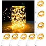 Battery Powered Mason Jar Lantern Lights,8 Pack Warm White 20 Led String Fairy Star Firefly Jar Lights,for Mason Jar Wine Bottle Home Patio Garden Wedding Christmas Moon Table Decorations Lights