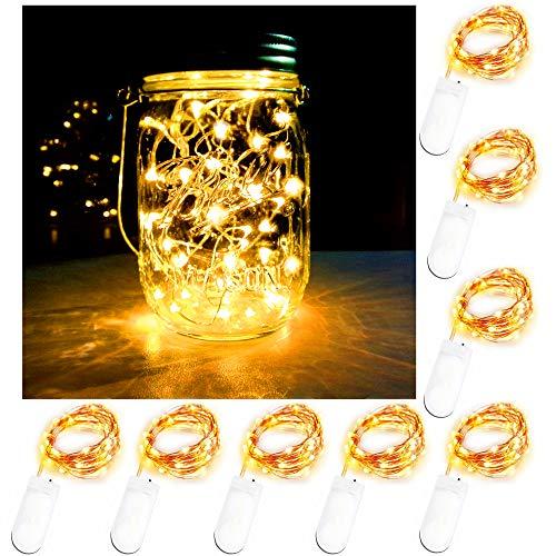 Battery Powered Mason Jar Lantern Lights,8 Pack Warm White 20 Led String Fairy Star Firefly Jar Lights,for Mason Jar Wine Bottle Home Patio Garden Wedding Christmas Moon Table Decorations Lights