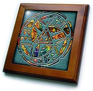 3dRose ft_108090_1 Designer One of A Kind Native American Art-Framed Tile, 8 by 8-Inch