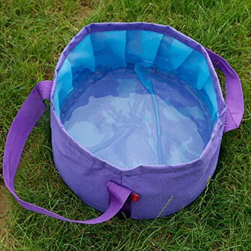 OHHCO Tazón plegable para lavar el hogar, artículos de pesca, artículos de cocina, cubo plegable para lavar, bolsa de agua, cubeta para acampar, lavabo plegable, cubo verde (color: púrpura)
