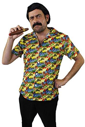 I LOVE FANCY DRESS LTD Pablo Escobar KOSTÜM VERKLEIDUNG GANOVEN Drogen Lord=Fasching Karneval Halloween Party= 3 VERSCHIEDENEN VARIATIONEN=Schnurrbart+ZIGARRE+PERÜCKE-Hemd/GRÖßE-MEDIUM