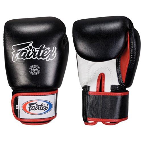 Fairtex Muay Thai Style Training Sparring Gloves, 14 oz, Black/White