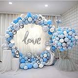 Arco Palloncini 5M 120PCS Blu e Bianco Palloncini con Coriandoli Metallico Palloncini come Decorazione Festa di Compleanno per Bambini Matrimonio Sposi Decorazioni Laurea Cerimonia Party Decorazioni