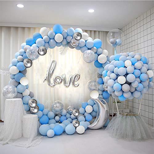 ATFUNSHOP Arco De Globos de Cumpleaños 5M 120PCS Globos Dorados Szul y Plata Metalizados Transparentes Confeti para Boda Baby Shower Fiesta Decoración