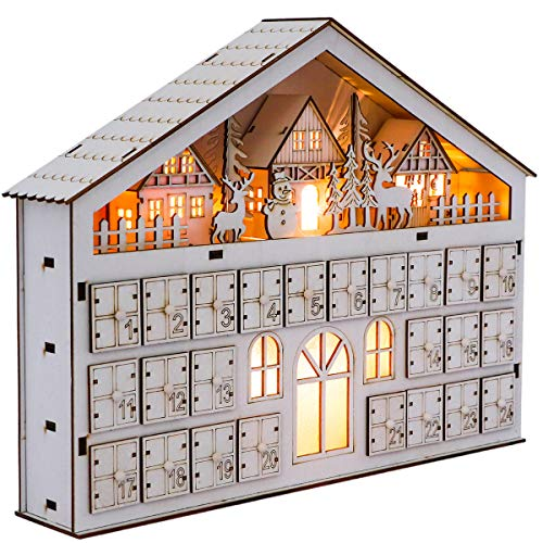 Valery Madelyn 24-Day Christmas Countdown Advent Calendar with LED Lights, Frozen Winter White Wooden House Xmas Decoration for Tabletop, 15.4Inch/39cm Long