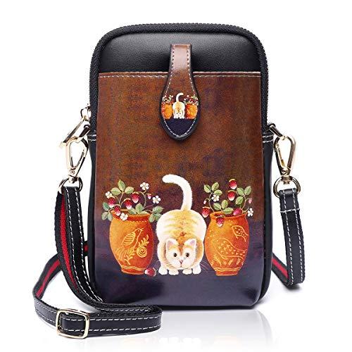 Damen Kleine Umhängetasche PU Leder Geldbörse Crossbody Handy Mini-Tasche Mode Cartoon Frauen Schultertaschen mit Reißverschluss (3-0054)