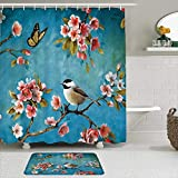 VINISATH 2-teiliges duschvorhang-Set rutschfeste teppichen,Blumen Vögel Rosa Pfirsichblüte Schmetterling Blätter Zweige Blaugrün Natürliche Frühlingsölgemälde,Durable wasserdichte Badvorhänge Matte