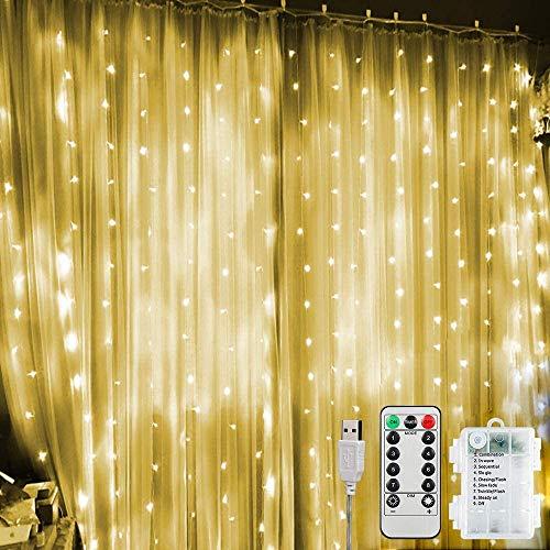 Kurtyna świetlna LED 3 m x 3 m, 300 diod LED, na USB i baterie, zasłona okienna z 8 trybami pracy, pilot zdalnego sterowania, IP65, wodoszczelna zasłona świetlna LED, na imprezę, wesele, Boże Narodzenie