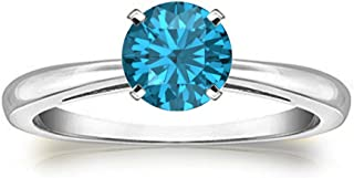 Awesome 18K White Gold Over Sterling Silver 1.00 Ct Round Cut Created London Blue Topaz Solitaire Anniversary Wedding Ring