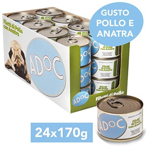 Adoc - Cibo Umido per Cani Adulti con Ingredienti Naturali Anatra - 24 lattine da 170gr
