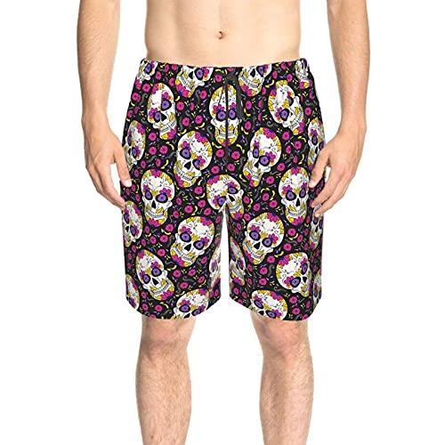 WXM Traje de baño para hombre de día de la independencia con costuras de leopardo, pantalones cortos de verano de secado rápido con forro de malla