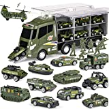 18 Pcs Military Truck with Soldier Men Toy Set, Mini Die-cast Battle Car in Transport Carrier Truck Playset, Army Toy Vehicle for Boy Girl Kid Toddler Children 8-12 Year Old Birthday Gift Party Favor