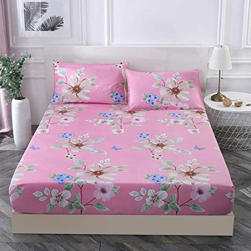 HJUYT 17 colores 9 – 22 cm funda de colchón de celosía rayas impresión sábana bajera ajustable kit de funda de almohada elástica sábana colcha Queen