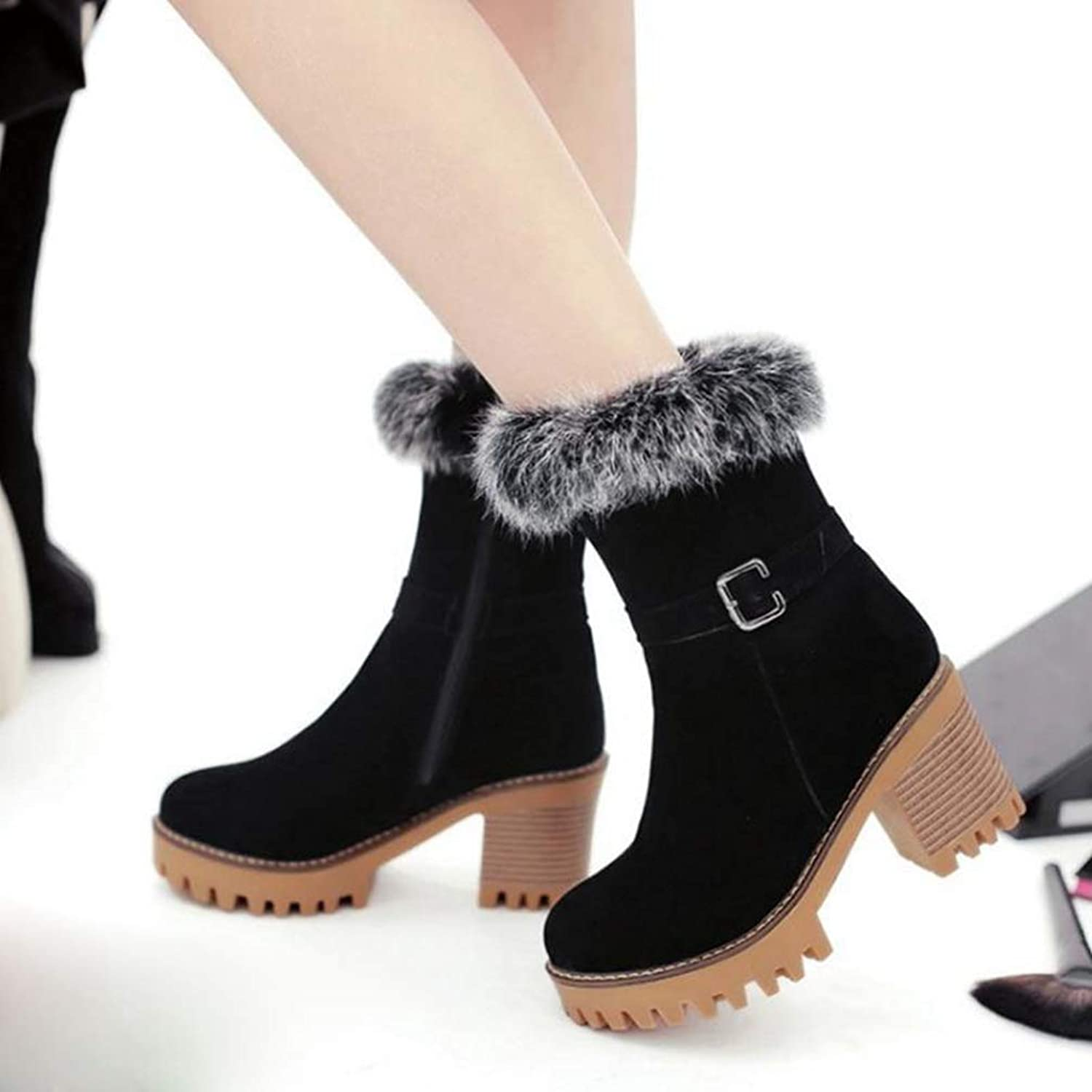 Hoxekle Women Mid Calf High Square Heel Boots Thick Fur Buckle Short Boots Round Toe Winter Snow Girl Footwear