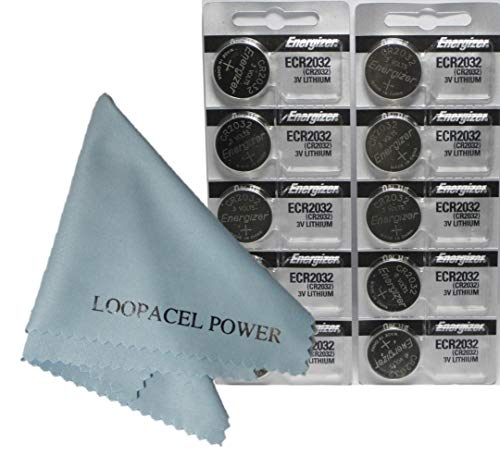 Energizer CR2032 DL2032 ECR2032 3v Lithium Coin Cell Batteries 10 Pack - with Loopacell Brand Microfiber Cleaning Cloths Ultra Smooth