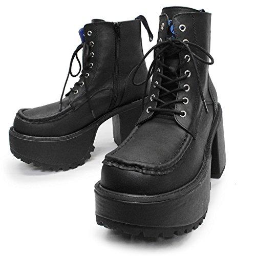 [ヨースケ] 【Deorart ディオラート】 メンズサイズ ショート丈 編み上げ 厚底ブーツ BY4001M (27.0, ブラック)