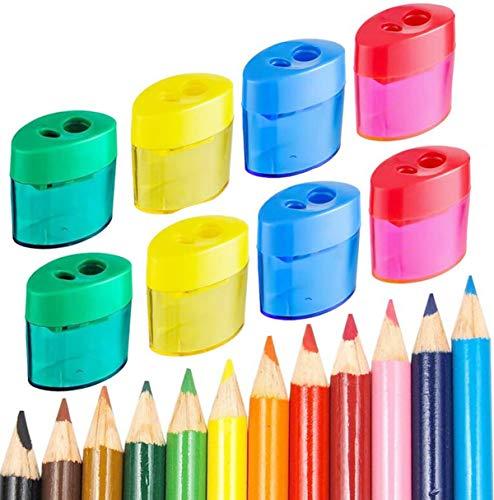 Sacapuntas con Deposito,Liuer 24PCS Sacapuntas Doble Pencil Sharpener para Lapices Colores para Niños Estudiantes Escuela Aula Juguete Premios Estudiantes