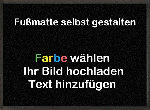 mymat Fußmatte zum selbst gestalten | Farbe wählen | Bild einfügen | Text hinzufügen (Schwarz, 60x45cm)