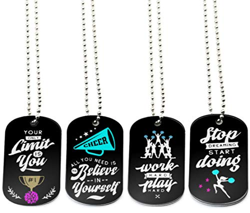 (12-Pack) Cheerleading Dog Tag Necklaces with Inspirational Quotes - Wholesale Bulk Pack of Necklaces for Cheerleading Party Favors and Supplies - Cheer Squad Gifts for Girls Women Cheerleaders