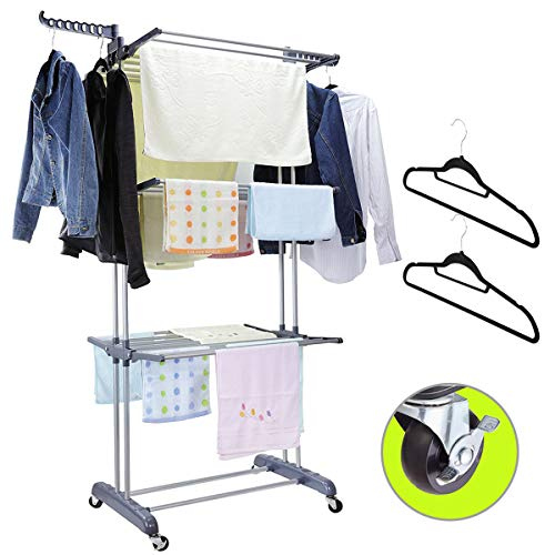 MIZG Clothes Drying Rack,3 Tier Rolling Dryer Clothes Hanger,Collapsible Garment Laundry Rack with Foldable Wings and Casters Indoor/Outdoor,Large...