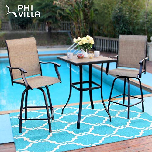 PHI VILLA Patio Swivel Bar Stools Set of 2, Outdoor Bar Height Patio Stools & Bar Chairs with High Back and Armrest, All-Weather Textilene Patio Furniture for Deck Lawn Garden