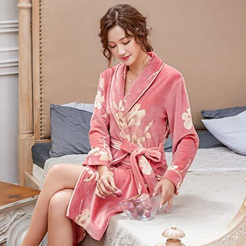 XRQ Damen-Dressingkleid-Bademantel Weiche Gemütliche Bad-Robe Für Frauen Flauschiger Einklemmendes Kleid Frauen-Haus-Haus-Haus-Flanell-Lange Robe-Damen-Bademantel-Dressing-Kleid,Rosa,XXL