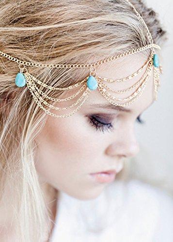 Handmadejewelrylady Damen Kopfschmuck / Haarkette, modisches Design, aus Metall, behangen mit Strasssteinen